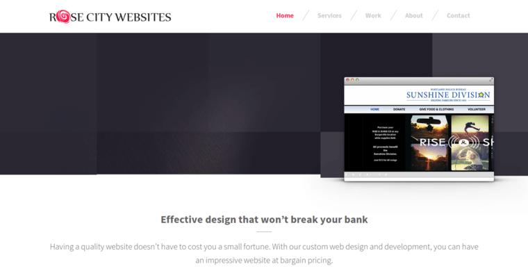 homepage of 17 best web design firm rose city websites