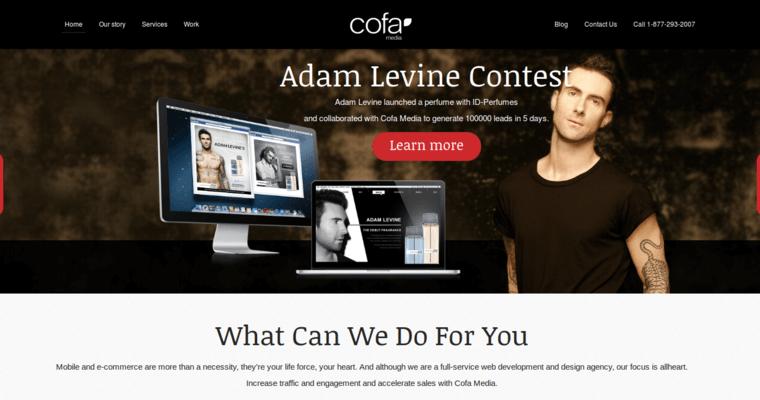homepage of 13 best web design firm cofa media