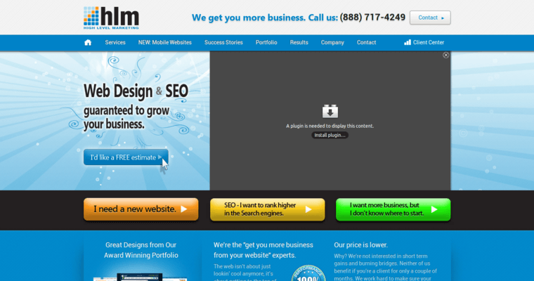 homepage of 19 best web design firm high level marketing