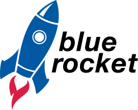 Top iPhone App Development Agency Logo: Blue Rocket