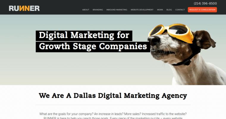 runner agency best web design firms dallas
