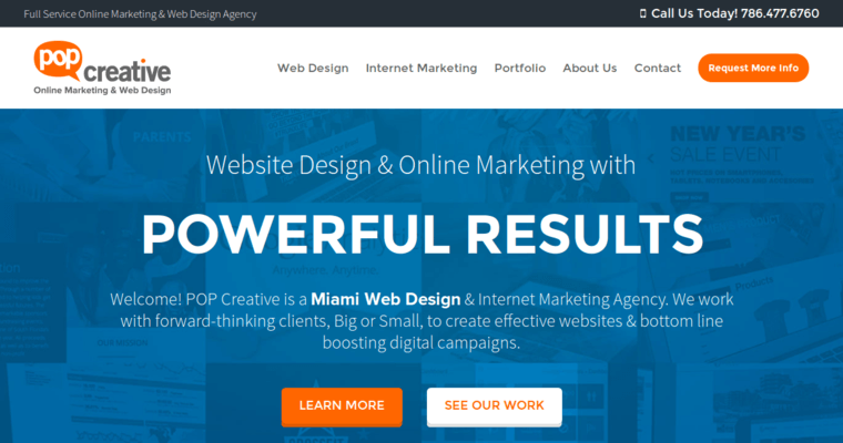 work from home web design. Pop Creative Home Page  Best Miami Web Design Agencies 10