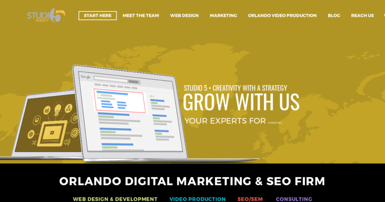 Home Page Of 8 Best Orlando Web Design Firm Studio 5 Agency