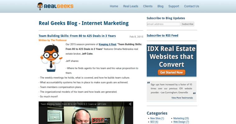 Real Geeks Blog Page