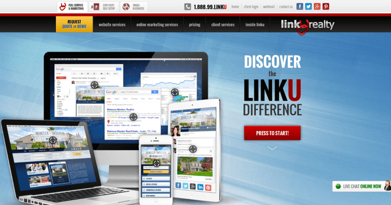 Home Page Of #9 Top Real Estate Web Design Firm: Linkurealty