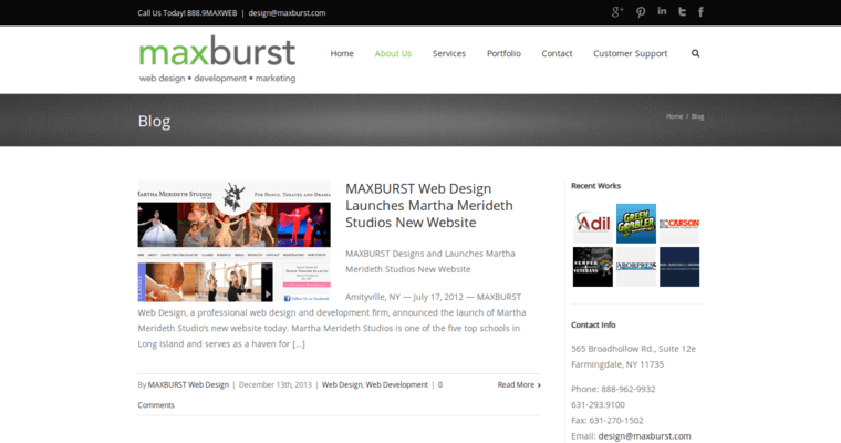 Maxburst best small business web design firms for Best architecture firm websites