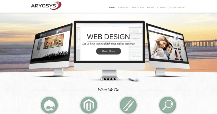 Home Page of Top Web Design Firms in California: Aryosys