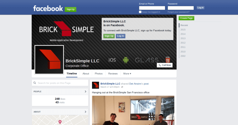 Facebook Page of Top Web Design Firms in California: Brick Simple