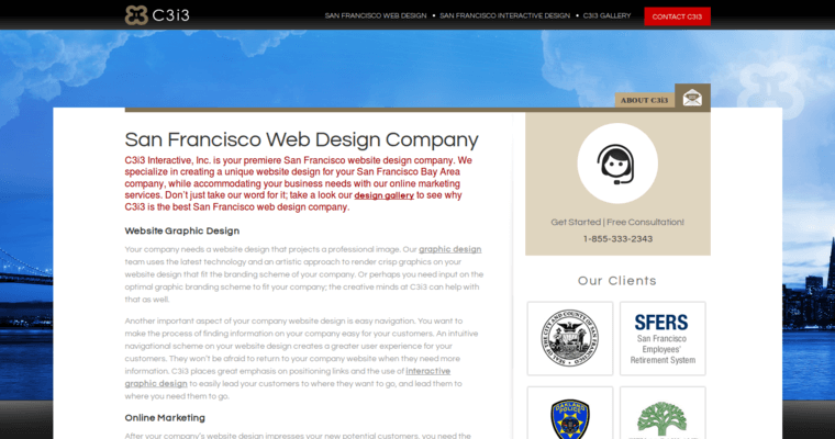 Company Page of Top Web Design Firms in California: C3i3