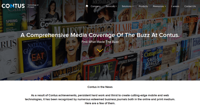 News Page of Top Web Design Firms in California: Contus