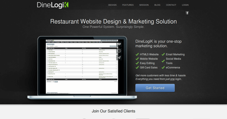 Home Page of Top Web Design Firms in California: DineLogik