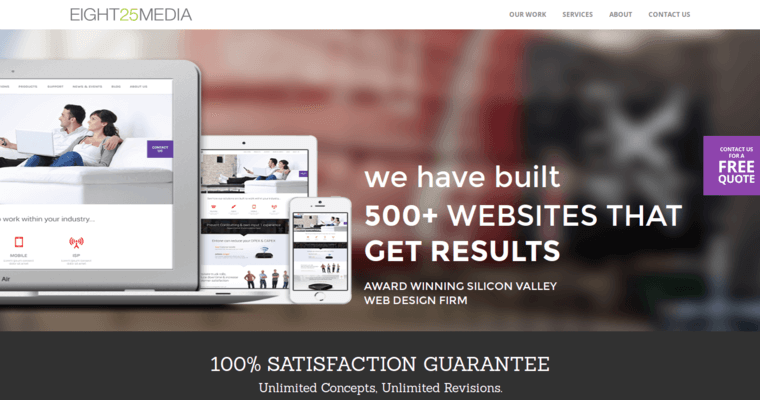 Home Page of Top Web Design Firms in California: EIGHT25MEDIA