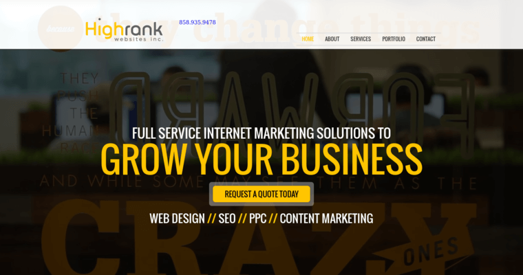Home Page of Top Web Design Firms in California: High Rank Websites