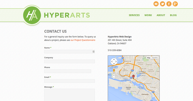 Contact Page of Top Web Design Firms in California: HyperArts