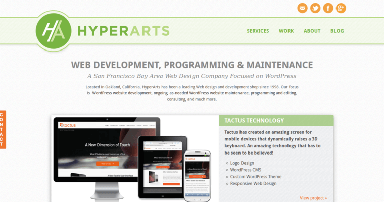 Home Page of Top Web Design Firms in California: HyperArts