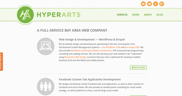 Service Page of Top Web Design Firms in California: HyperArts