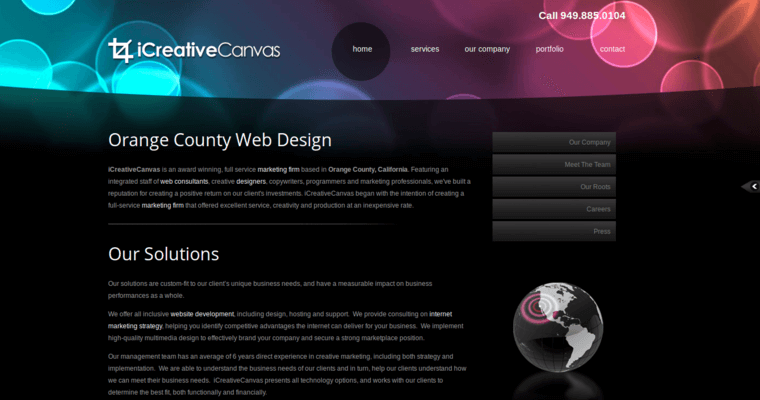 Company Page of Top Web Design Firms in California: iCreative Canvas