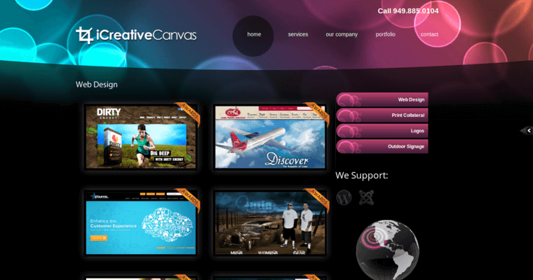 Folio Page of Top Web Design Firms in California: iCreative Canvas