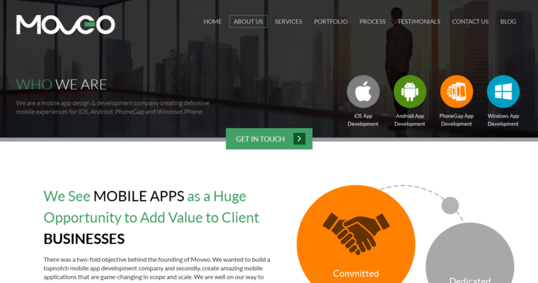 About Page of Top Web Design Firms in California: Moveo Apps