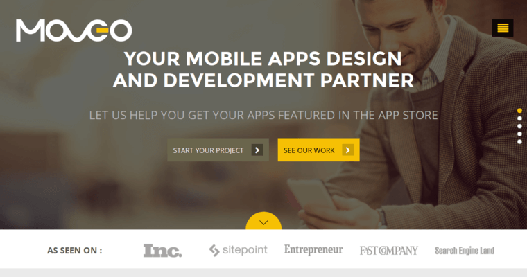 Home Page of Top Web Design Firms in California: Moveo Apps