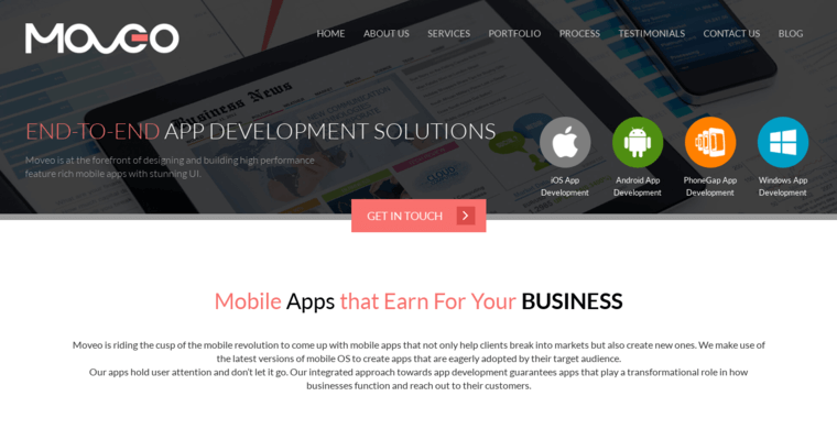 Service Page of Top Web Design Firms in California: Moveo Apps
