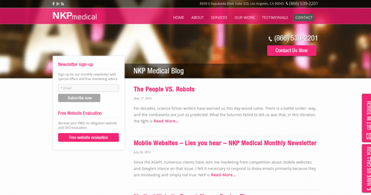 Blog Page of Top Web Design Firms in California: NKP Medical