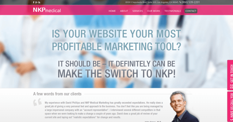 Home Page of Top Web Design Firms in California: NKP Medical