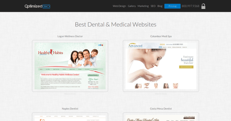 Websites Page of Top Web Design Firms in California: Optimized360