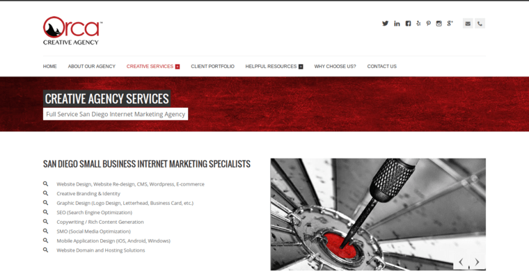 Service Page of Top Web Design Firms in California: Orca Creative Agency