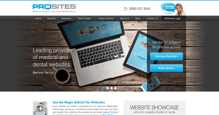 Home Page of Top Web Design Firms in California: ProSites