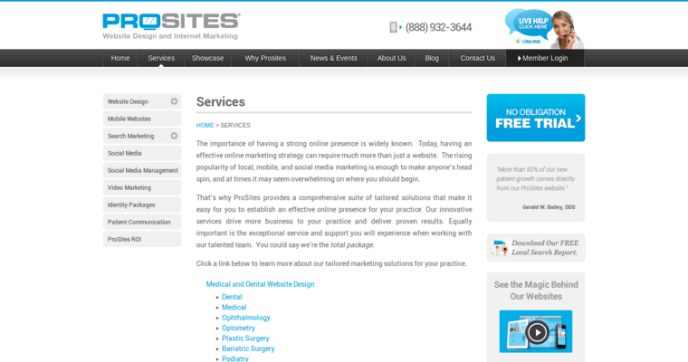 Service Page of Top Web Design Firms in California: ProSites