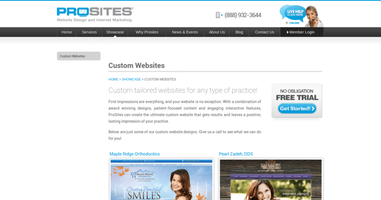 Websites Page of Top Web Design Firms in California: ProSites