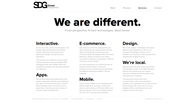 Service Page of Top Web Design Firms in California: Spiegel Design Group