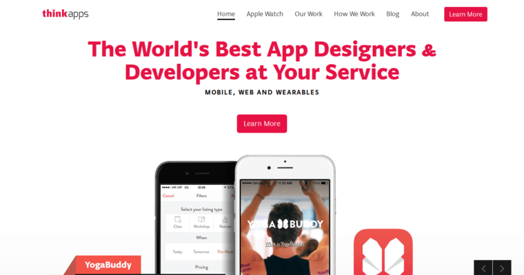 Home Page of Top Web Design Firms in California: Think Apps