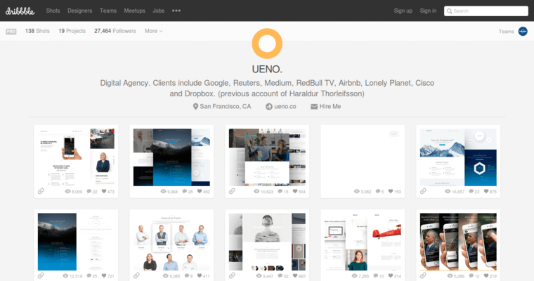 Dribble Page of Top Web Design Firms in California: Ueno