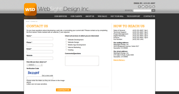 Contact Page of Top Web Design Firms in California: WebSight Design