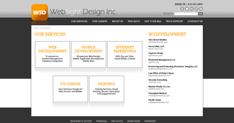 Service Page of Top Web Design Firms in California: WebSight Design
