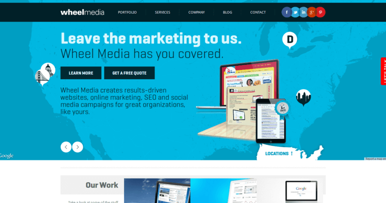 Home Page of Top Web Design Firms in California: Wheel Media
