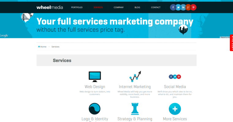 Service Page of Top Web Design Firms in California: Wheel Media