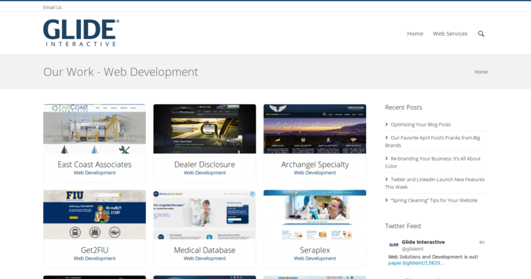 Development Page of Top Web Design Firms in Florida: Glide Interactive