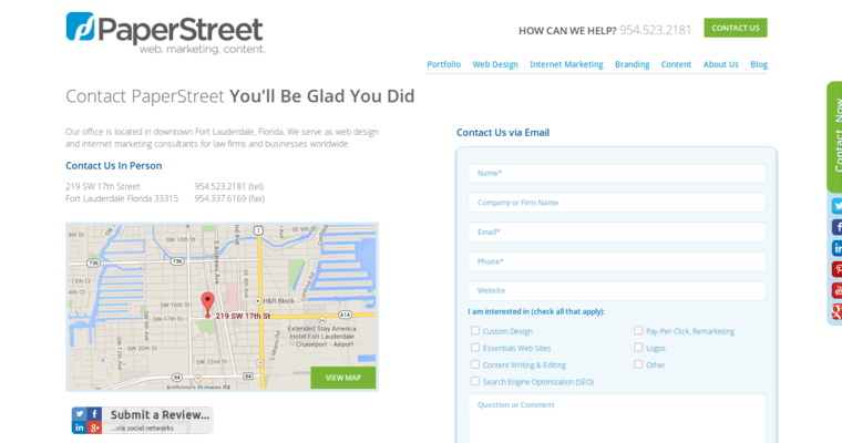 Contact Page of Top Web Design Firms in Florida: PaperStreet