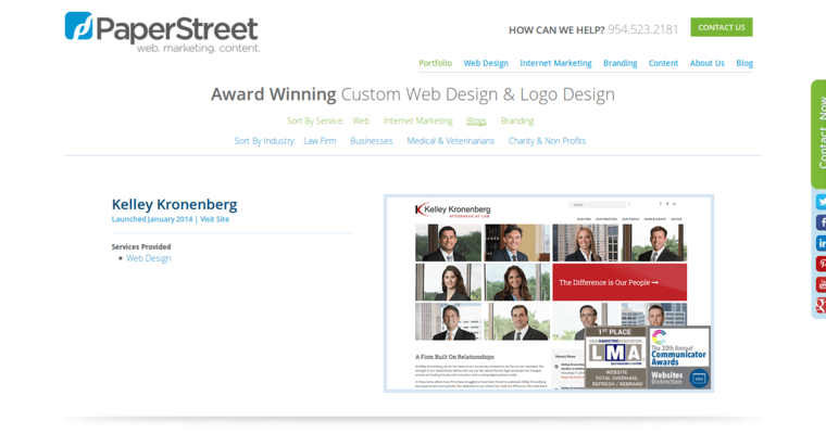 Folio Page of Top Web Design Firms in Florida: PaperStreet