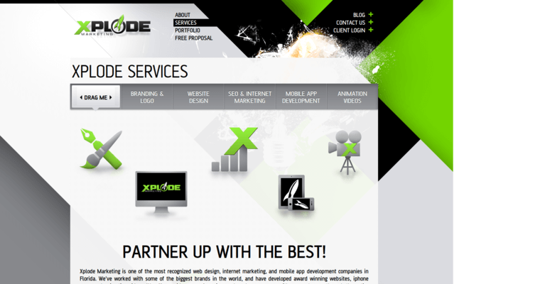 Service Page of Top Web Design Firms in Florida: Xplode Marketing