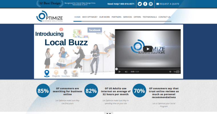 Home Page of Top Web Design Firms in New Jersey: Optimize