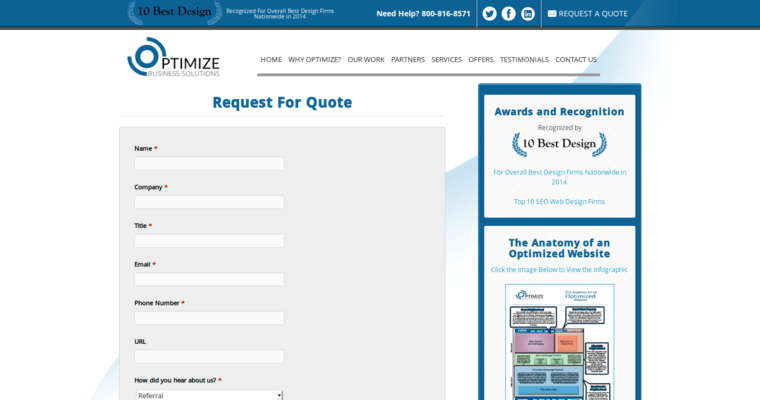 Quote Page of Top Web Design Firms in New Jersey: Optimize