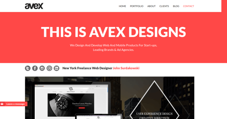 Home Page of Top Web Design Firms in New York: Avex