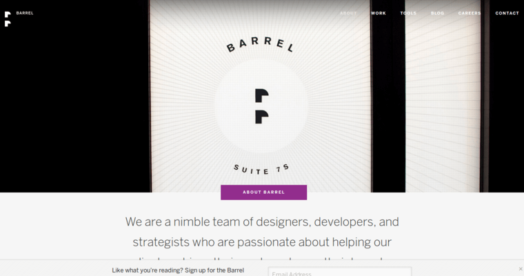 About Page of Top Web Design Firms in New York: Barrel