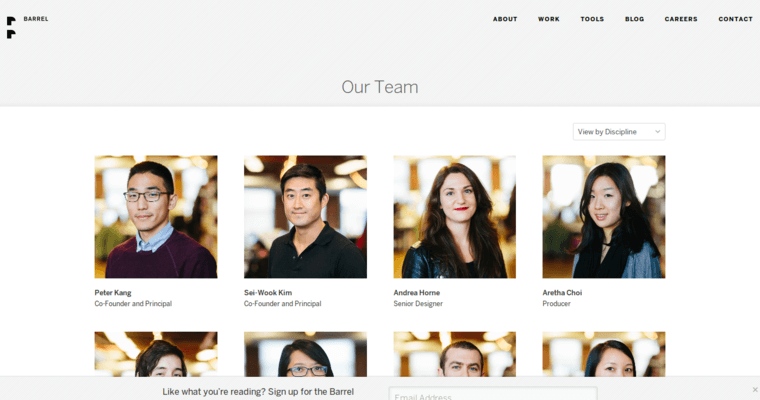 Team Page of Top Web Design Firms in New York: Barrel