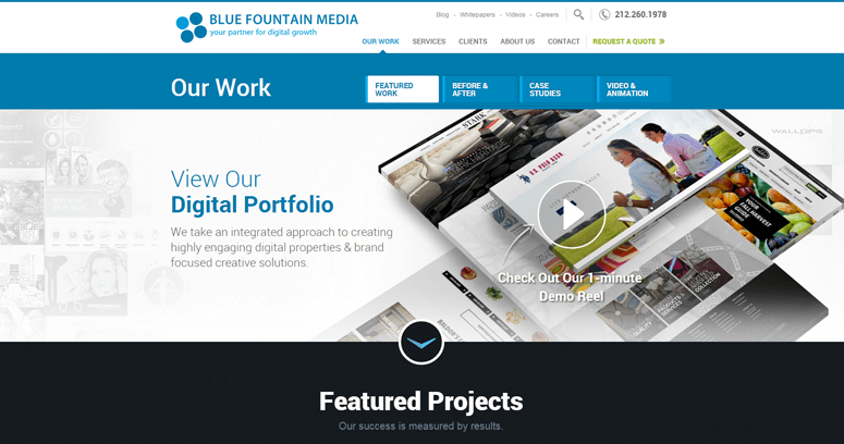 Folio Page of Top Web Design Firms in New York: Blue Fountain Media