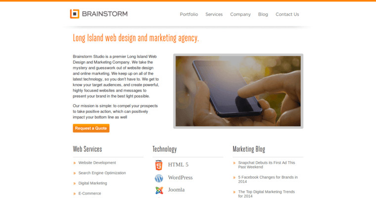 Home Page of Top Web Design Firms in New York: Brainstorm Studio